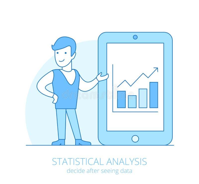 Lägenhet för statistisk analys för Lineart affärsfolk royaltyfri illustrationer