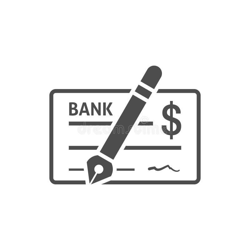 Lägenhet för symbol för bankkontroll vektor illustrationer