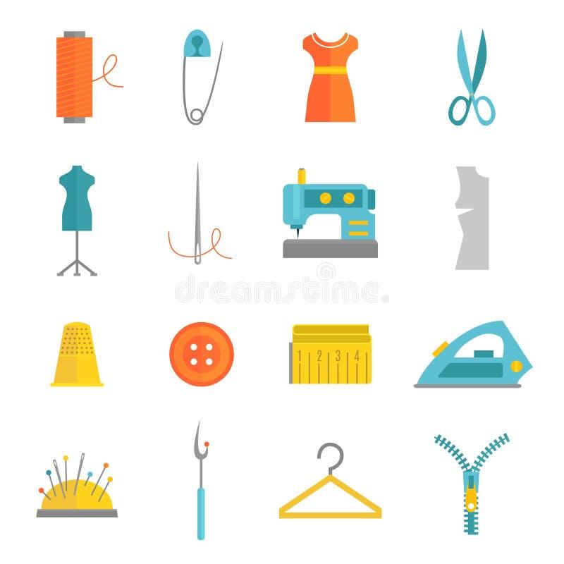 Lägenhet för uppsättning för sömnadutrustningsymboler stock illustrationer
