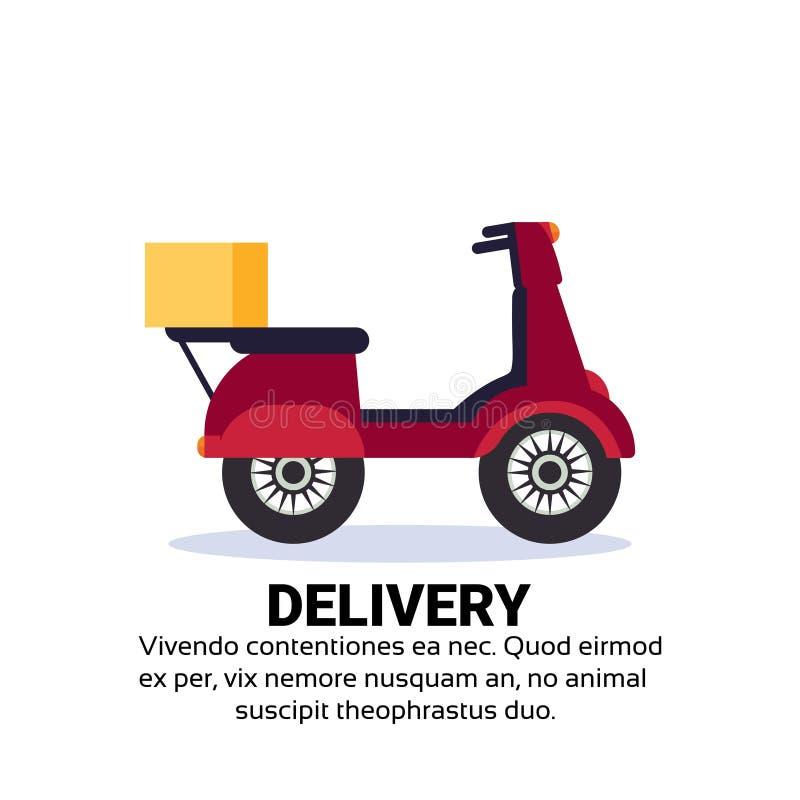 Lägenhet för utrymme för kopia för transport för begrepp för motorcykelleveransask snabb fri sparkcykel isolerad royaltyfri illustrationer