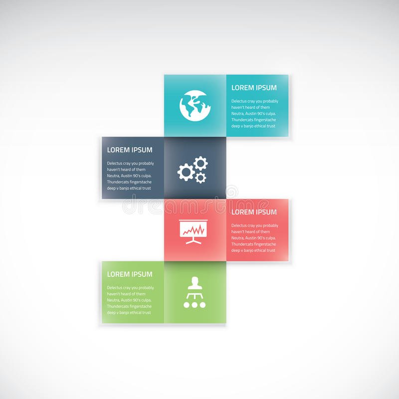 Lägenhet för vektor för alternativ för affär för fyrkantig ask infographic vektor illustrationer