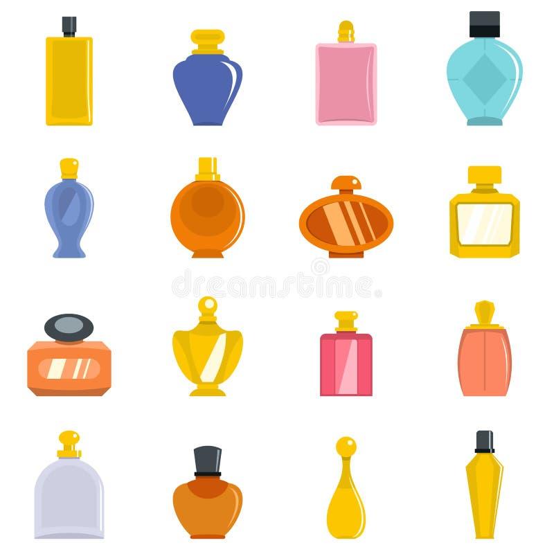 Lägenhet för vektor för symboler för doftflaskor fastställd stock illustrationer