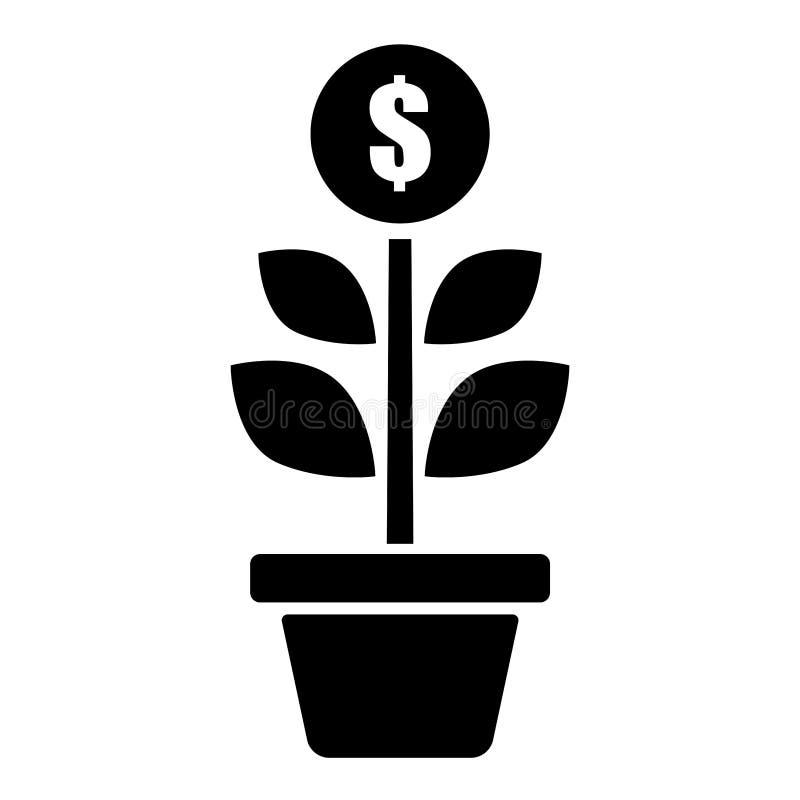 Lägenhet inlagd pengardollarblomma Abstrakt monetär framgångillustration svart white royaltyfri illustrationer