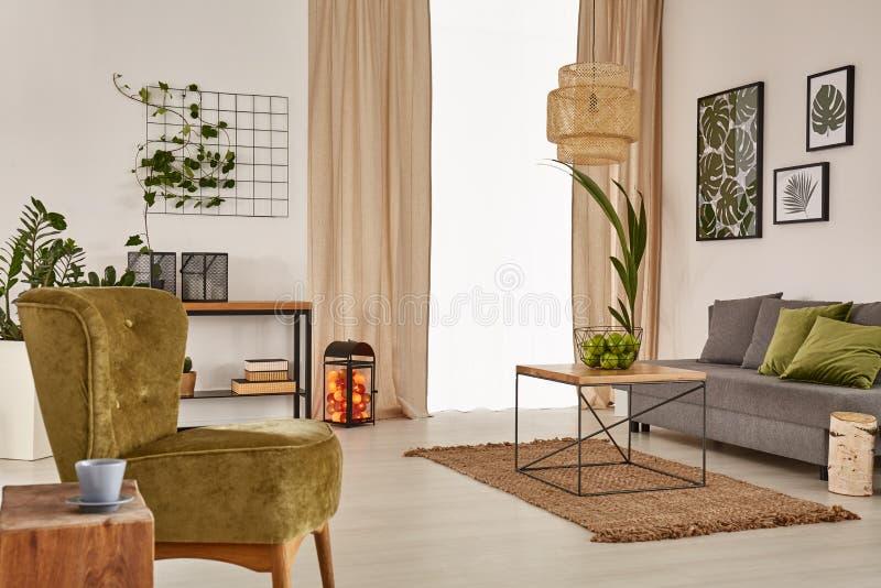 Lägenhet med den gråa soffan arkivbild
