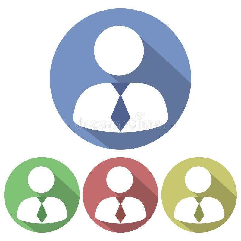 Lägenhet rund symbol för affärsmankonturvit Gjuta en skugga fyra variationer royaltyfri illustrationer