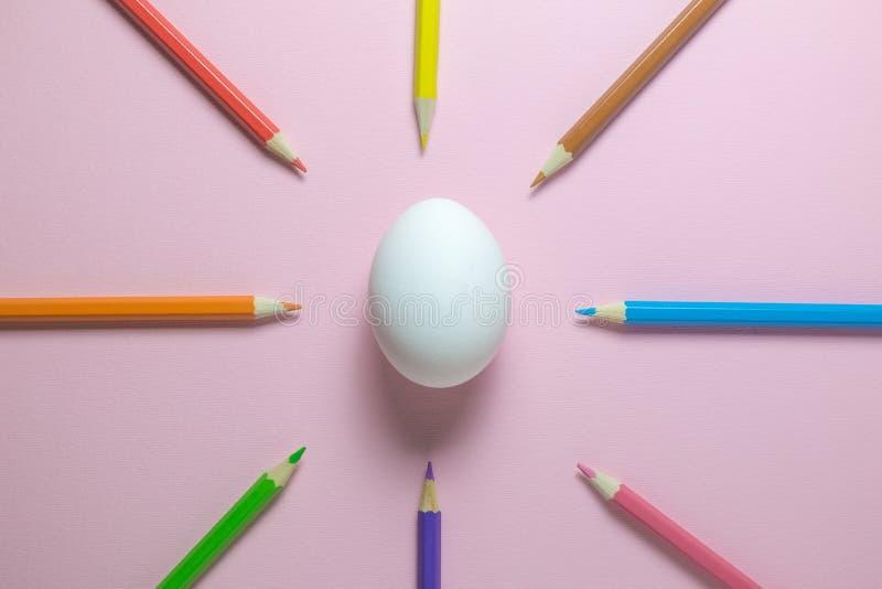 Lägenhet som är lekmanna- av träfärgpennor i olikt vit ägg för färger och på vanlig rosa bakgrund royaltyfri bild