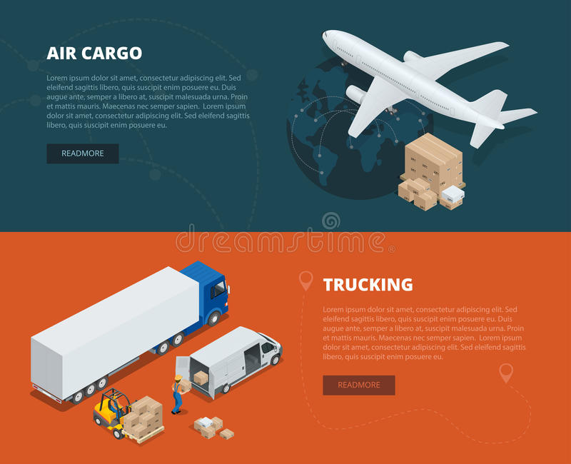 Lägenhetbaner för logistiskt begrepp av flygfrakt som åker lastbil I rätt tid leverans Leverans och logistiskt Isometrisk vektor stock illustrationer