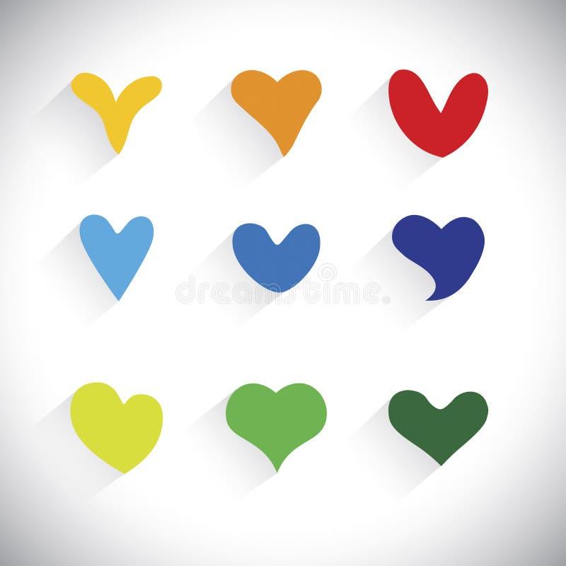 Lägenhetdesigner av färgrik hjärta formar symboler - vektordiagram vektor illustrationer