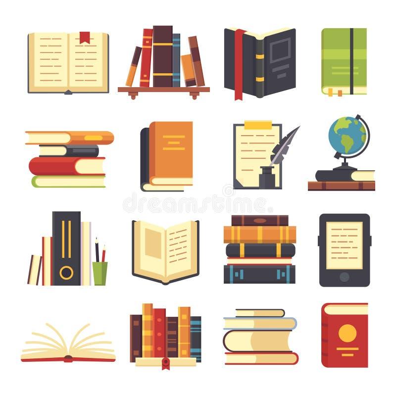 Lägenheten bokar symboler Tidskrifter med bokmärken, historia och den öppna vetenskapsbokbunten Encyklopedien på arkiv bordlägger stock illustrationer