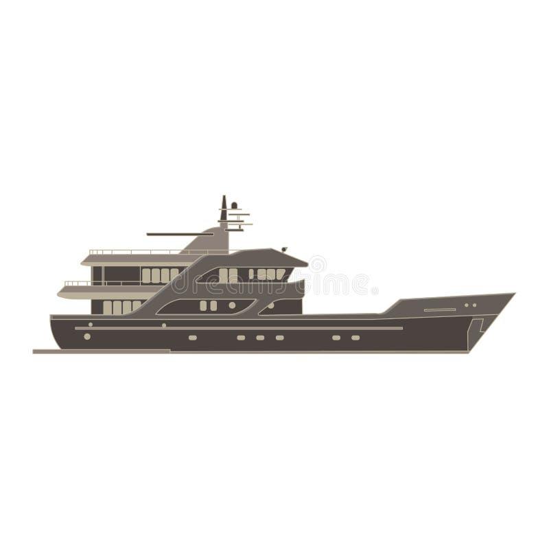Lägenheten för monokrom för lastfartygsidosikten i grå färger färgar tema vektor illustrationer
