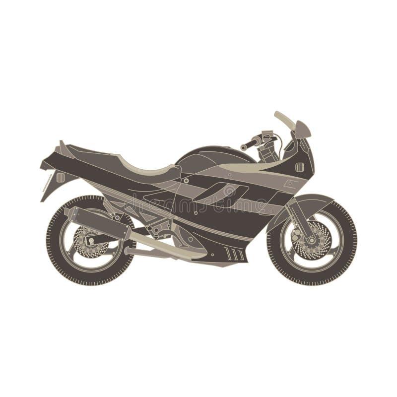 Lägenheten för monokrom för motorcykelsidosikten i grå färger färgar tema royaltyfri illustrationer
