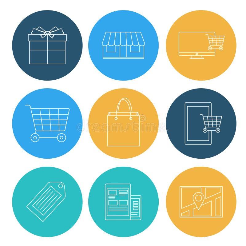 Lägenheten fodrar shoppingsymboler, ecommerce stock illustrationer