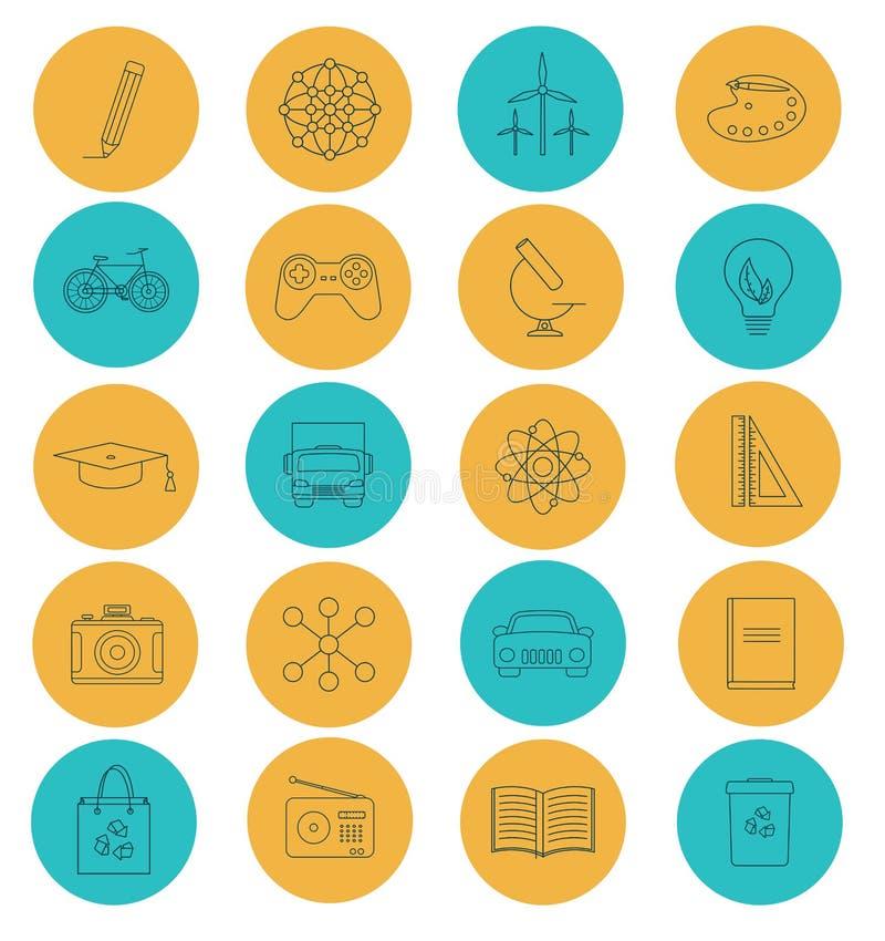 Lägenheten fodrar symboler av vetenskap och fysik stock illustrationer