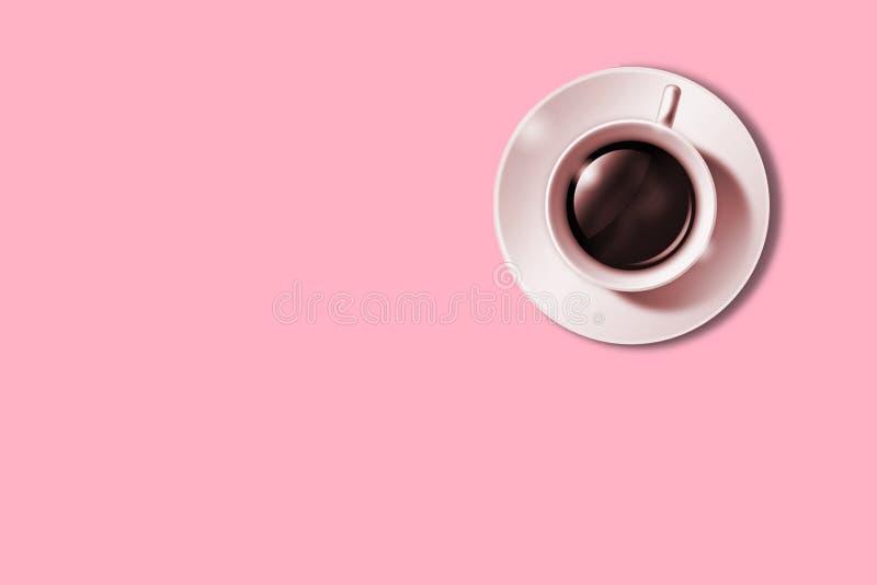 Lägenheten lägger av minimalistic bild av kaffe på rosa bakgrund Minimalismkaffebegrepp arkivbilder
