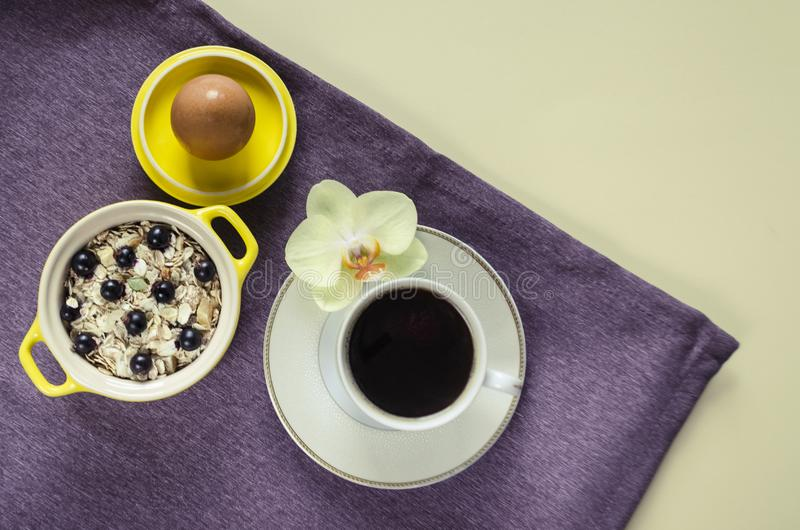 Lägenheten lägger på en magasinhavremjöl i en gul kruka, mysli med nya blåbär, ägget, kaffeamerikan på en purpurfärgad servett på arkivfoton