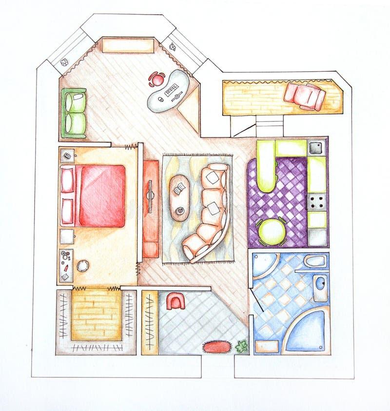 lägenheter planlägger inre övre sikt vektor illustrationer
