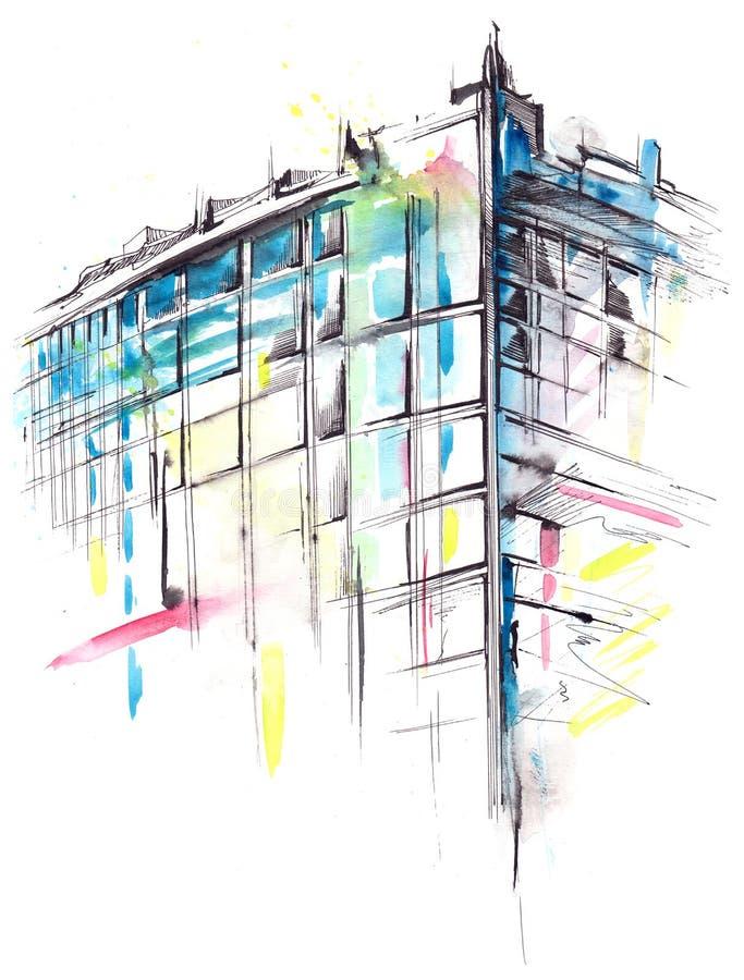 lägenheter som bygger arbete för ställe för affärskontor stock illustrationer