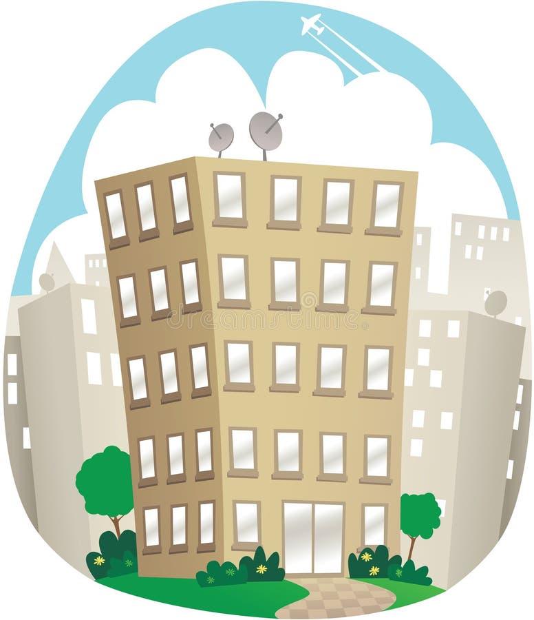 lägenheter som bygger arbete för ställe för affärskontor royaltyfri illustrationer