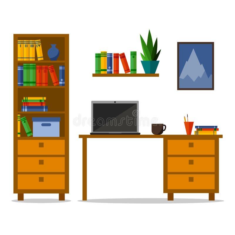 Lägenhethem eller kontorsarbetsplats med tabellen, bokhylla, hylla Modern moderiktig design för kortet, webbplats, baner, broschy vektor illustrationer
