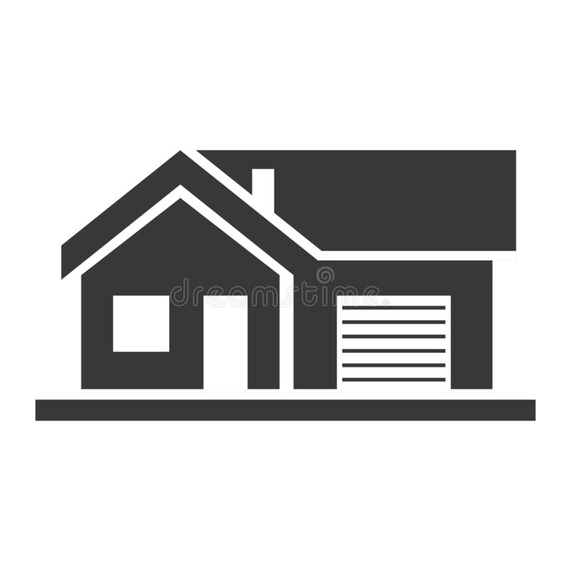 Lägenhethus, hem och svart symbol för arkitektur stock illustrationer