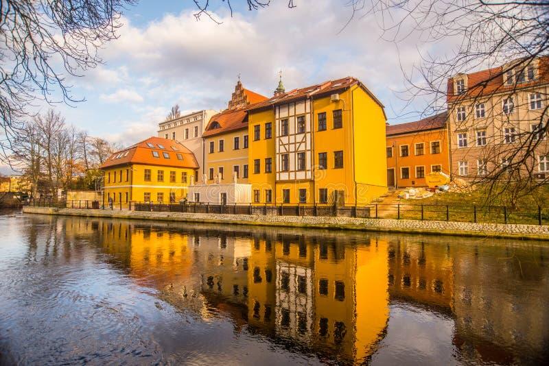 Lägenhethus på banken av floden i Bydgoszcz, Polen royaltyfri foto