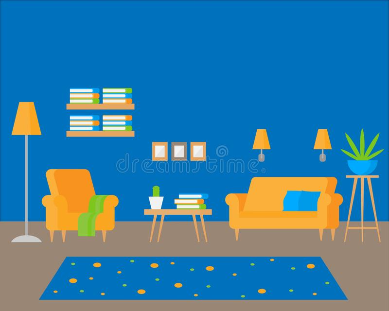 Lägenhetinre med hemtrevligt möblemang Modern design för huset, plan vardagsrum Inomhus garnering stock illustrationer
