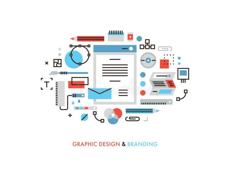 Lägenhetlinje illustration för grafisk design vektor illustrationer