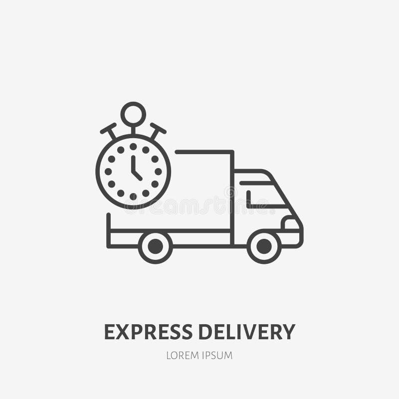 Lägenhetlinje symbol för uttrycklig leverans Fastar lastbiltecknet Gör den linjära logoen för lasttransporten, fraktservice tunna stock illustrationer