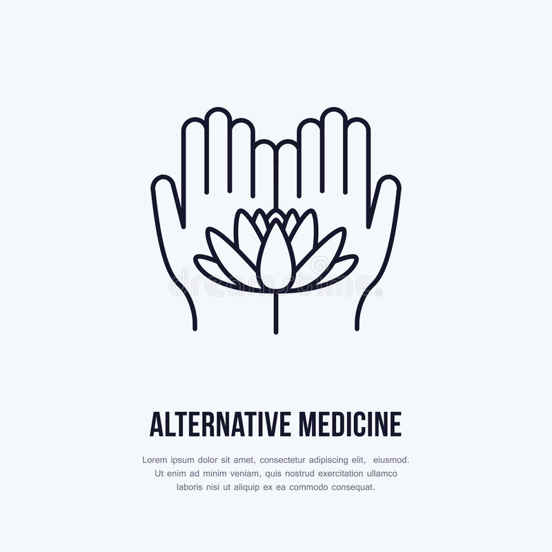 Lägenhetlinje symbol, logo för alternativ medicin Vektorillustrationen av lotos blommar i händer för traditionell behandling stock illustrationer