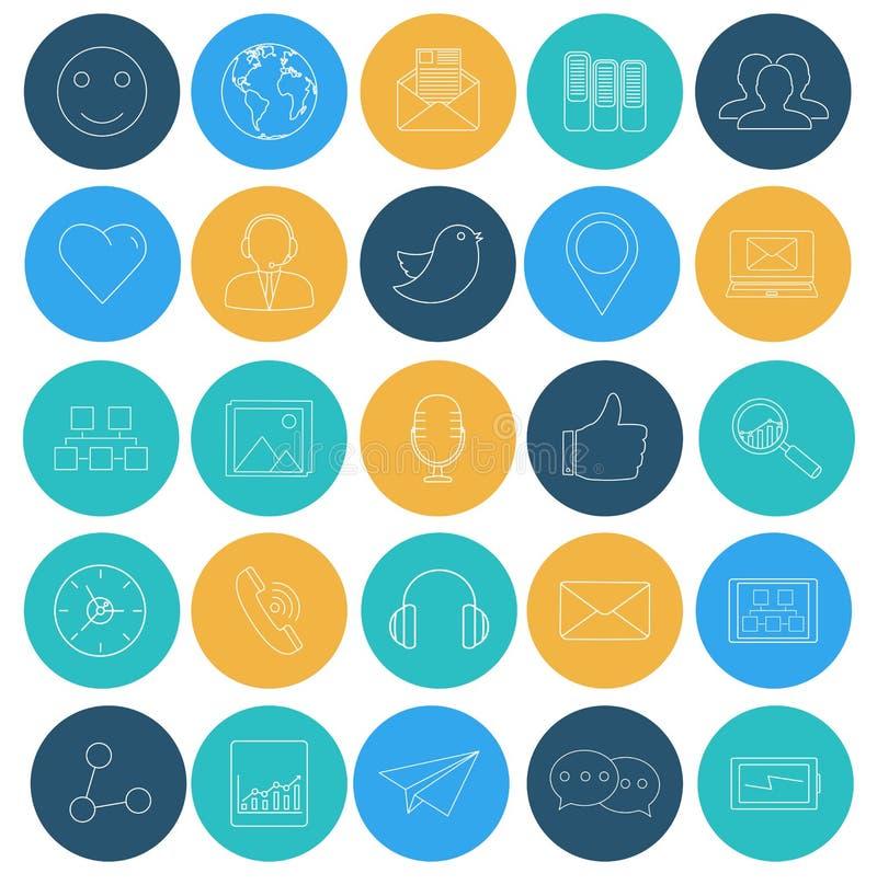 Lägenhetlinjer symboler av det sociala nätverket SEO och internet Beståndsdelar f vektor illustrationer