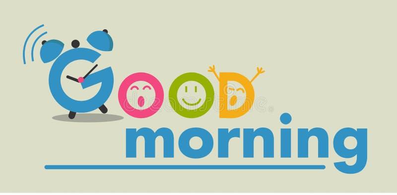 Lägenhetstil för bra morgon royaltyfri illustrationer