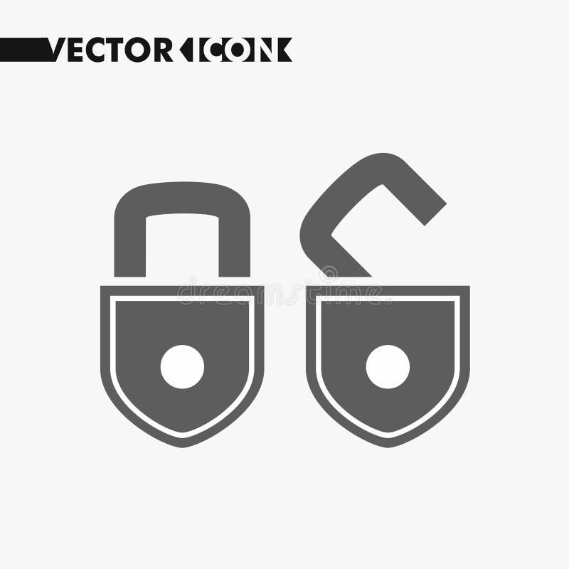Lägenhetsymbol för öppet lås Konturlås Monokromt lås som isoleras på bakgrund Enkel plan designstil vektor illustrationer