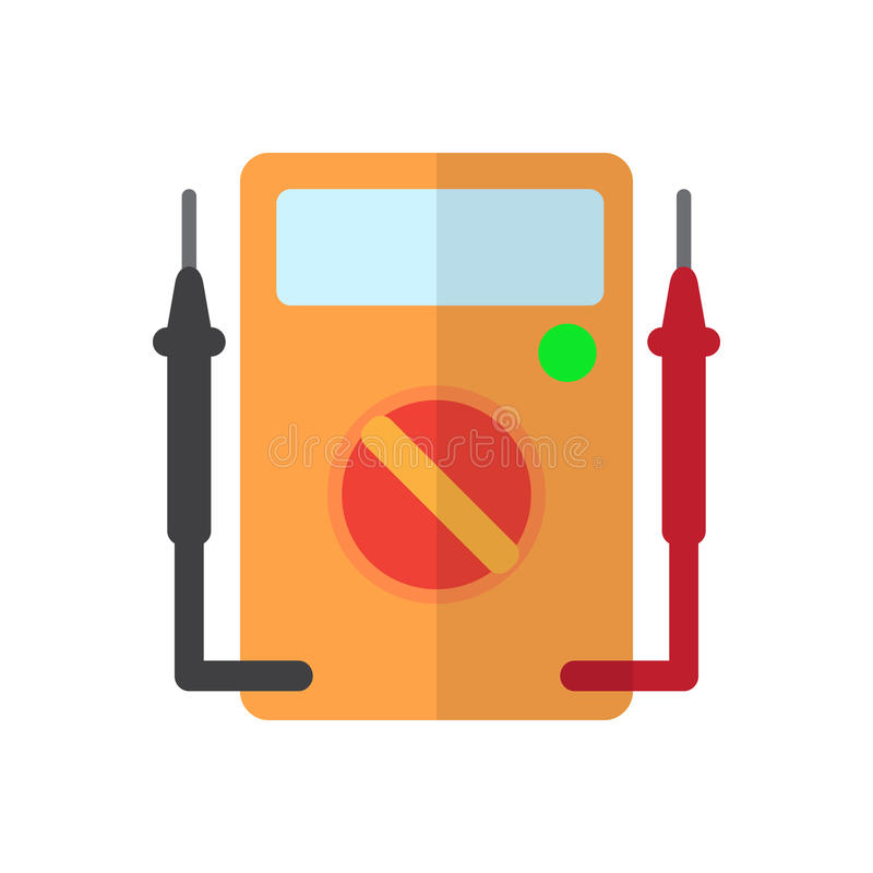 Lägenhetsymbol för Digital Multimeter, fyllt vektortecken, färgrik pictogram som isoleras på vit vektor illustrationer