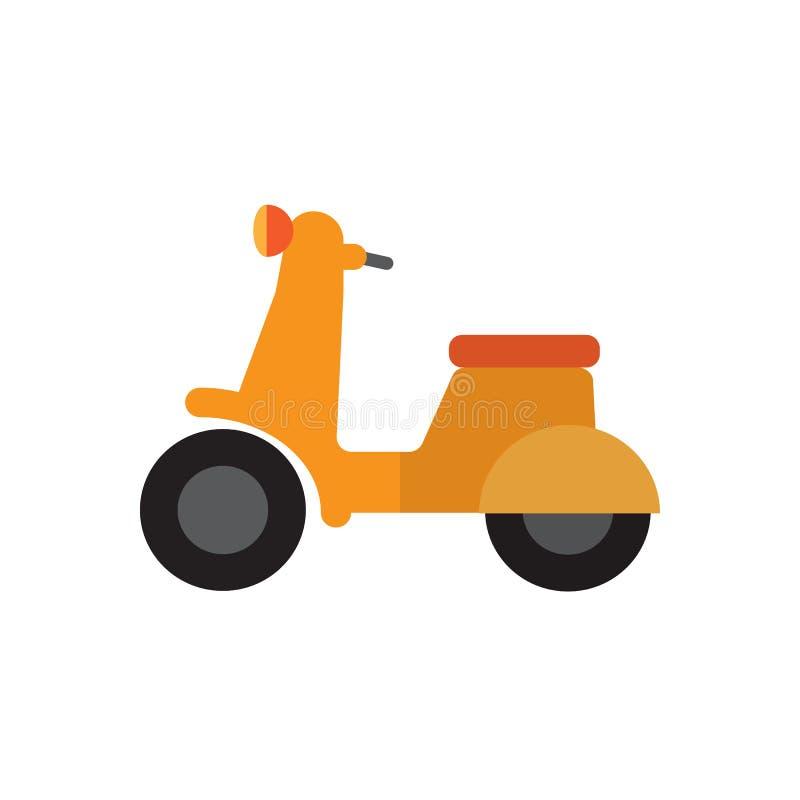Lägenhetsymbol för motorisk sparkcykel, fyllt vektortecken, färgrik pictogram som isoleras på vit royaltyfri illustrationer