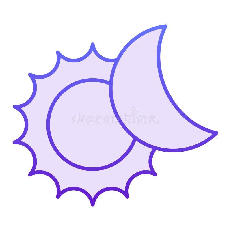 Lägenhetsymbol för sol- förmörkelse Violetta symboler för astronomi i moderiktig plan stil Designen för sol- och månelutningstil  royaltyfri illustrationer