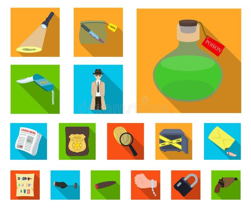 Lägenhetsymboler för detektiv- byrå i uppsättningsamlingen för design Brott- och utredningvektorsymbolet lagerför rengöringsdukil vektor illustrationer