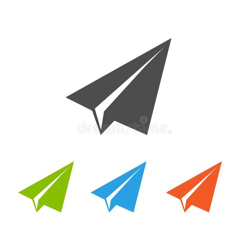 Lägenhetsymboler för pappers- flygplan stock illustrationer