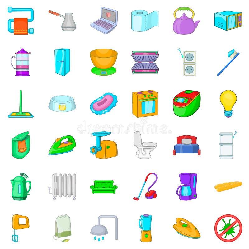 Lägenhetsymboler uppsättning, tecknad filmstil vektor illustrationer