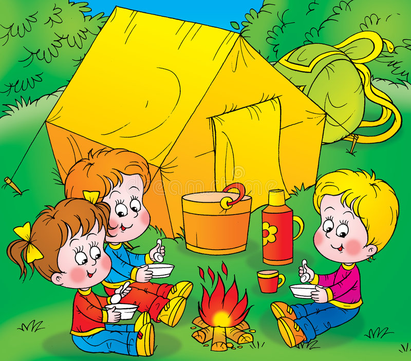 läger stock illustrationer