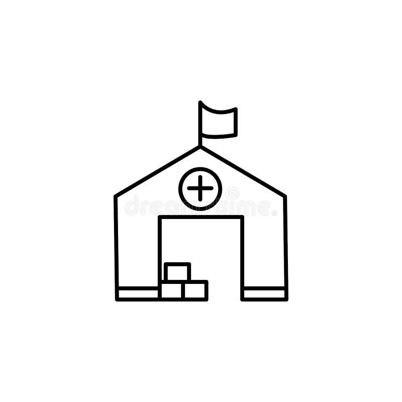 läger asylsymbol Beståndsdel av det sociala problemet och flyktingsymbolen Tunn linje symbol för websitedesignen och utveckling,  royaltyfri illustrationer