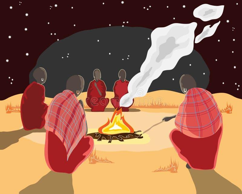 lägerbrandmasai royaltyfri illustrationer