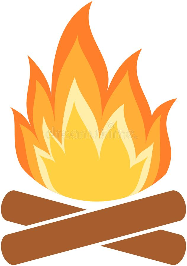 Lägerbrandsymbol Flamma stock illustrationer