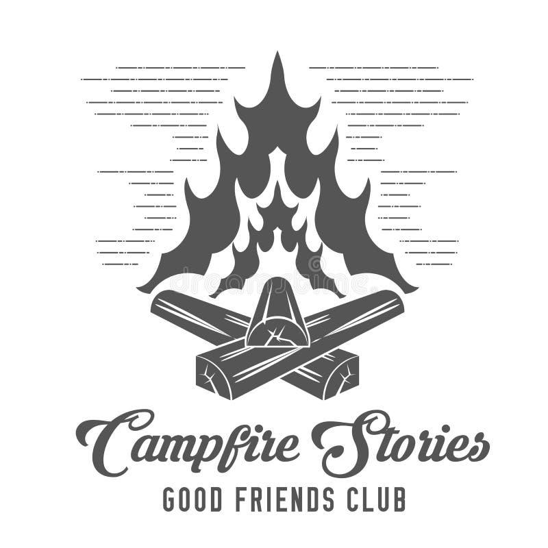 Lägereldberättelser - Forest Camp - spanar Club Vector Emblem royaltyfri illustrationer