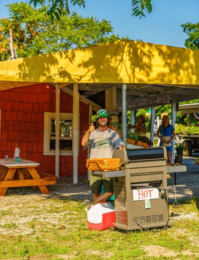 Lägerhjältedelstatspark Long Island New York - Juli 17, 2016 varmkorvsäljare royaltyfria foton
