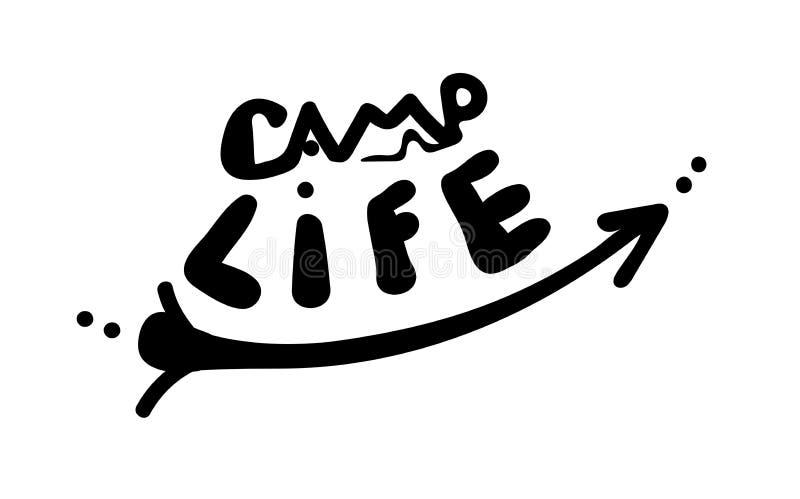 Lägerliv Ord och pil i enkel handskriven stil Vektorinskrift Gullig inskrift på en vit bakgrund turismcitationstecken stock illustrationer