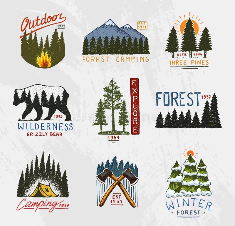Lägerlogo, bergbarrskog och träemblem den inristade handen som dras i gammal tappning, skissar emblemtältturist vektor illustrationer