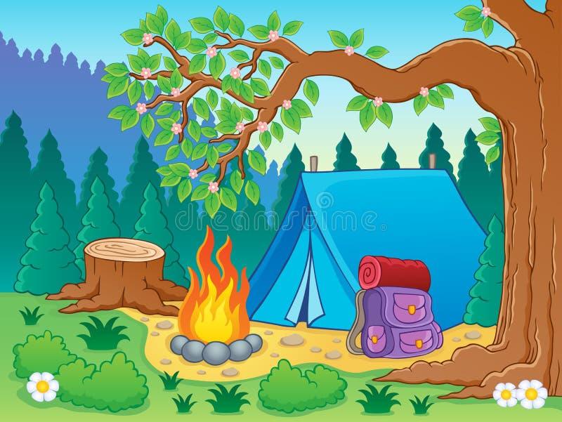 Lägertemat avbildar 2 vektor illustrationer