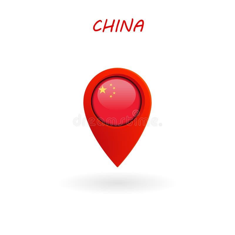Lägesymbol för den Kina flaggan, vektor royaltyfri illustrationer