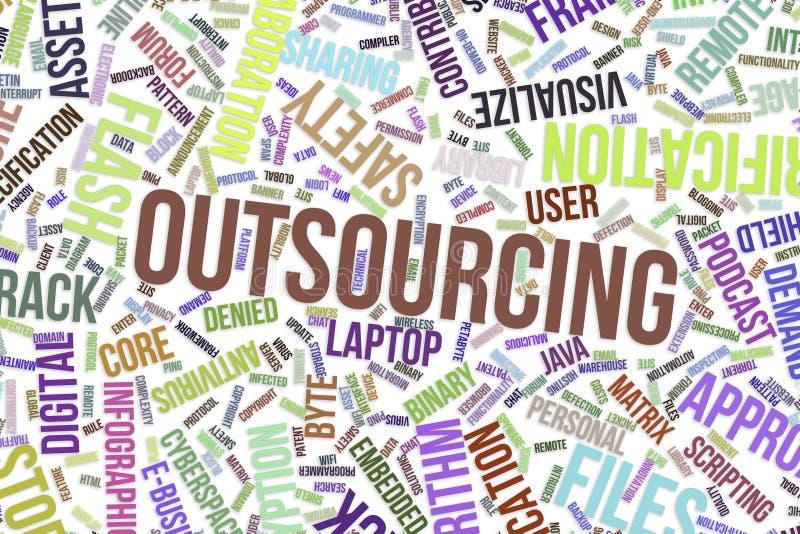 Lägga ut, begreppsmässigt ordmoln för affär, informationsteknik eller IT stock illustrationer