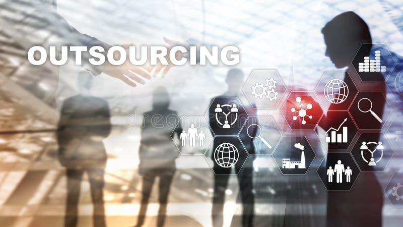 Lägga ut personalresurser Branschbegrepp för global affär Frilansen lägger ut internationellt partnerskap stock illustrationer